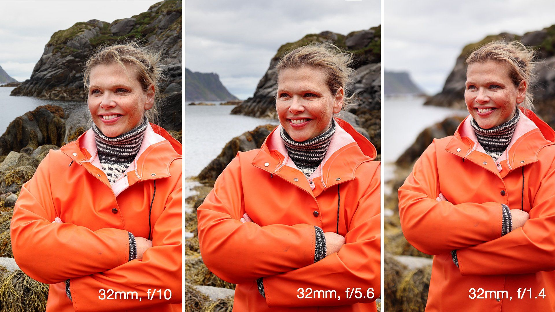 A composite of three portraits of a woman outdoors, in an orange waterproof. The left has a clear subject and background, the middle is in between and the right has a clear subject and blurred background. Photo by Richard Walch, taken with a with a Canon EF-M 32mm f/1.4 STM lens.